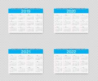 Vector Calendar of 2019, 2020, 2021 and 2022 years. Template Loose-leaf Calendars for 2019, 2020, 2021 and 2022 with pointers stock illustration
