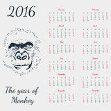 Vector calendar 2016. The yeat of monkey. Grey card. Format eps10 royalty free illustration