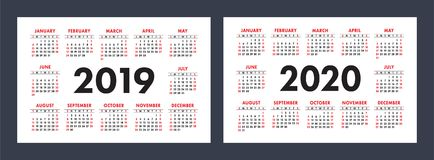 Vector calendars 2019 and 2020 years. Basic minimalistic design. Simple template royalty free illustration