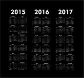 Vector calendars 2015 2016 2017 years. Set of square european 2015, 2016, 2017 year vector calendars stock illustration