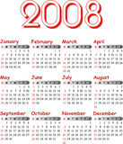 Vector calender 2008. Stock Image