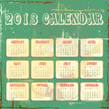 Vector calender for 2013. In square design with grunge background vector illustration