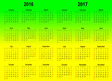 Vector calender template - 2016 and 2017 Royalty Free Stock Photos