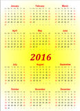 Vector calender template - 2016 in yellow background Royalty Free Stock Photos