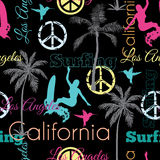 Vector California Colorful On Black Seamless Pattern Surface Design With Surfing Women, Palm Trees, Peace Signs, Surf Stock Image