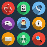 Vector call center icons. Set. Service support, customer contact, operator helpline Stock Photo