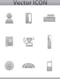 Vector Call center. square gray set icons Royalty Free Stock Photo