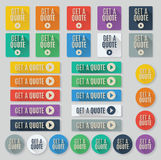 Vector call to action, get a quote buttons. Set of flat vector web buttons with call to action text. Get a quote buttons feature popular color palette for flat royalty free illustration