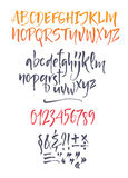 Vector calligraphic alphabet written with soft brush. Stock Photography