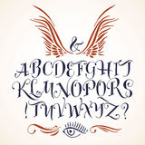 Vector calligraphic alphabet written with soft brush. Royalty Free Stock Photos