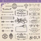 Vector calligraphic decoration elements set