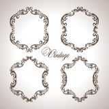 Vector calligraphic engraving frames set Stock Images