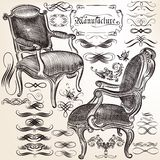 Vector calligraphic flourishes and chairs Stock Images