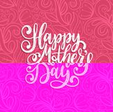 Vector calligraphic inscription Happy Mothers Day. Hand lettering illustration on abstract background for greeting card. Vector calligraphic inscription Happy Royalty Free Stock Photos