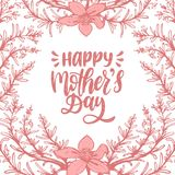 Vector calligraphic inscription Happy Mothers Day. Hand lettering illustration in floral frame for greeting card etc. Vector calligraphic inscription Happy Stock Photo