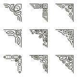 Vector calligraphic line corners for vintage frames stock illustration