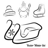 Vector Calligraphic winter drawings Royalty Free Stock Photography