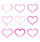 Vector calligraphy brush hearts. Set of hand drawing hearts, isolated on white royalty free illustration
