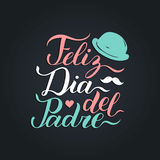 Vector calligraphy Feliz Dia Del Padre, translated Happy Fathers Day for greeting card, festive poster etc. Vector calligraphy Feliz Dia Del Padre, translated Stock Photo
