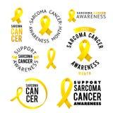 Vector Calligraphy LOGO SET. Yellow Awareness Ribbons of Sarcoma Cancer Vector illustration Stock Image