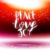 Vector calligraphy Peace, love, joy Stock Image