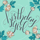Vector Calligraphy script Quote Birthday Girl. Greeting card sig Royalty Free Stock Image