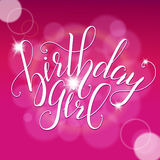 Vector Calligraphy script Quote Birthday Girl. Greeting card sign handwritten lettering typography vector Royalty Free Stock Photos