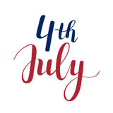 Vector calligraphy 4th of July celebration icons Stock Photo