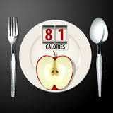 Vector of Calories in Apple Royalty Free Stock Photo