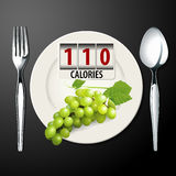 Vector of Calories in Green Grapes Royalty Free Stock Photo