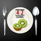 Vector of calories in kiwi Stock Photo