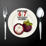 Vector of Calories in Mangosteen Royalty Free Stock Images