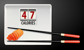 Vector of Calories in Salmon Sushi Stock Photography