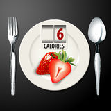 Vector of Calories in strawberry Royalty Free Stock Image