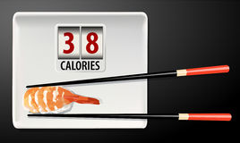 Vector of Calories in Sushi Stock Image