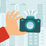 Vector camera in flat style Stock Image