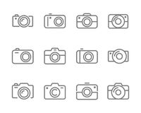 Camera icons set grey on white. Vector camera icons set grey on white background Stock Images