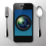 Vector of Camera lens on smart phone. Food Photography concept Royalty Free Stock Image