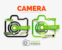 Vector camera linear style icons, 3d cut out relief with sticker - buttons. Photography banner elements. Can be used as camera theme infographics, parts Stock Photo