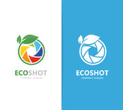 Vector of a camera shutter and leaf logo combination. Photography and eco symbol or icon. Unique photo and natural. Vector logo or icon design element for Stock Image