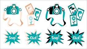 Vector camera in two styles Royalty Free Stock Photos