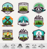 Vector camp label. Retro vector vintage camp label and logo graphics. Camping outdoor, adventure and explorer. Simple and nice design. Travel and Exploration the stock illustration
