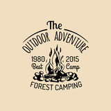 Vector camp logo. Tourism sign with hand drawn bonfire illustration. Retro hipster emblem, label of outdoor adventures. Stock Photos