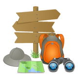 Vector Camping Accessories Concept Stock Images