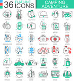 Vector Camping adventure flat line outline icons for apps and web design. Camping adventure icon. Vector Camping adventure flat line outline icons for apps and Stock Photography