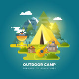 Vector camping background with tourist tent Royalty Free Stock Image