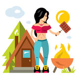 Vector Camping Barbecue. Flat style colorful Cartoon illustration. Stock Photos