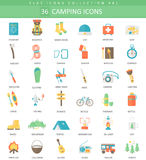 Vector Camping color flat icon set. Elegant style design. Vector Camping color flat icon set. Elegant style design Royalty Free Stock Image