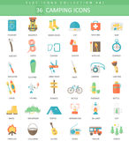 Vector Camping color flat icon set. Elegant style design. Vector Camping color flat icon set. Elegant style design Stock Image