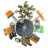 Vector Camping Concept with Compass Stock Photo
